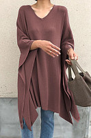 V Neck Cape Sleeve Loose-Fitting Plain T-Shirt