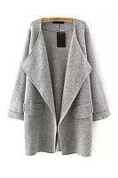 A Lapel Plain Casual Cardigan