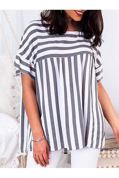 Summer  Cotton  Women  Round Neck  Striped  Bell Sleeve  Short Sleeve Blouses