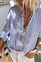 Fashionable Button V Collar Long-Sleeve Blouse