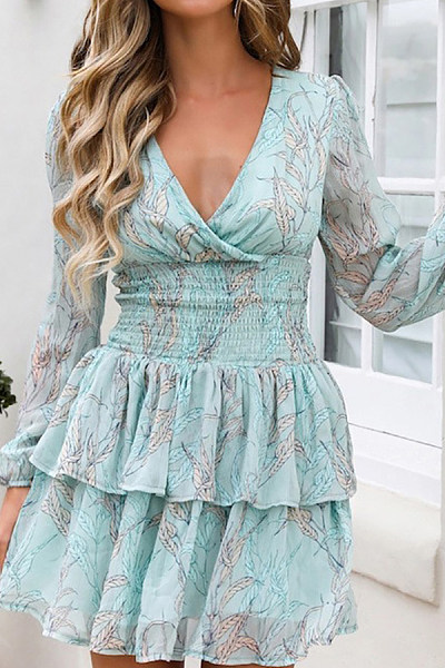 Printed Long Sleeve V-Neck Waist Dress