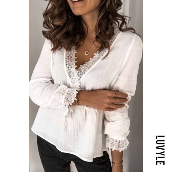 Sexy V-neck solid color long-sleeved lace Blouse
