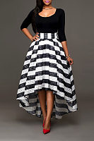 Scoop Neck  Curved Hem  Striped Two-Piece Outfits