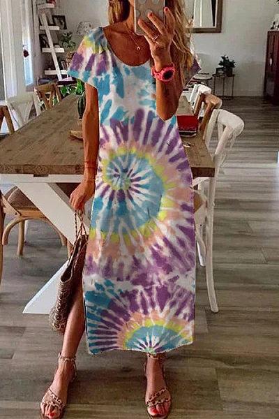 Casual Printed Maxi Dress Crew Dresses