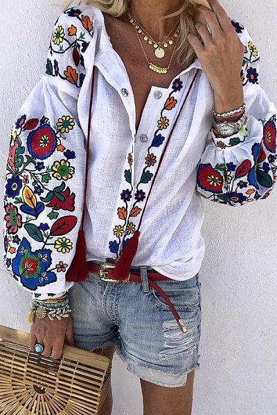 Irregular Collar Floral Casual Blouses