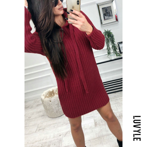 Red Hooded Plain Long Sleeve Casual Dresses Red Hooded Plain Long Sleeve Casual Dresses