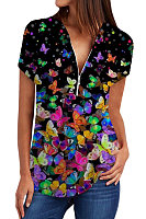 V Neck Butterfly Print Short Sleeve Blouse