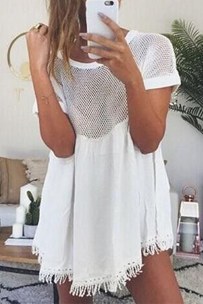Round Neck Mesh Patchwork Short Sleeve Blouses