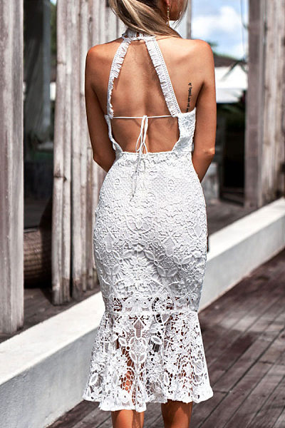 High Neck  Backless  Plain  Sleeveless Bodycon Dresses