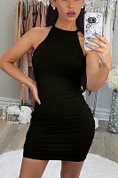 Halter  Plain  Sleeveless Bodycon Dresses