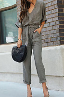 V Neck  Loose Fitting  Plain  Half Sleeve Jumpsuits