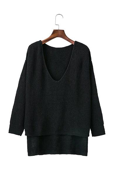 V Neck  Plain  Sexy Sweaters