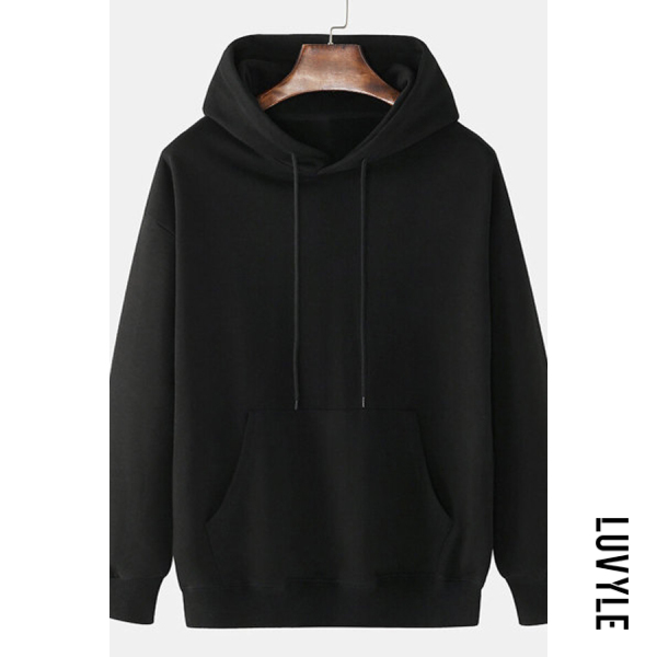 Black Knit Solid Color Loose Drawstring Hoodie Black Knit Solid Color Loose Drawstring Hoodie