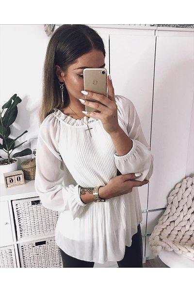 Elegant Ruffled Collar Long Sleeve Pleated Blouses