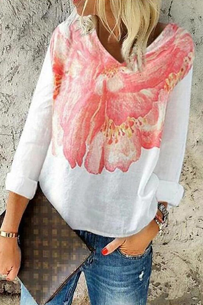 Casual V Neck Long Sleeve Floral Blouse