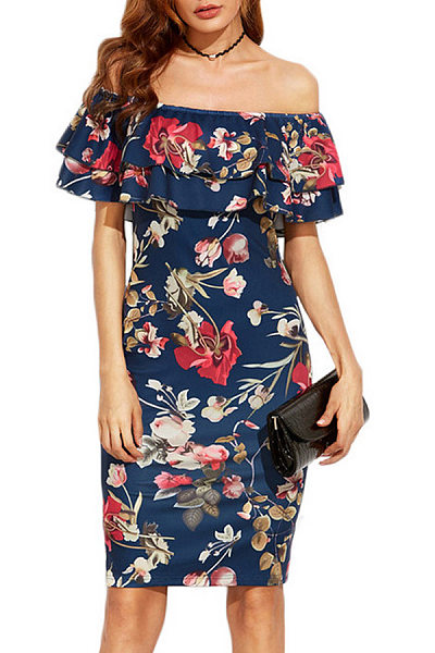 Off Shoulder Flounce Floral Bodycon Dress
