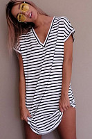 V Neck Striped Short Sleeve Casual Dresses