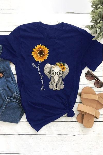 Round Neck Short Sleeve Printed T-shirt