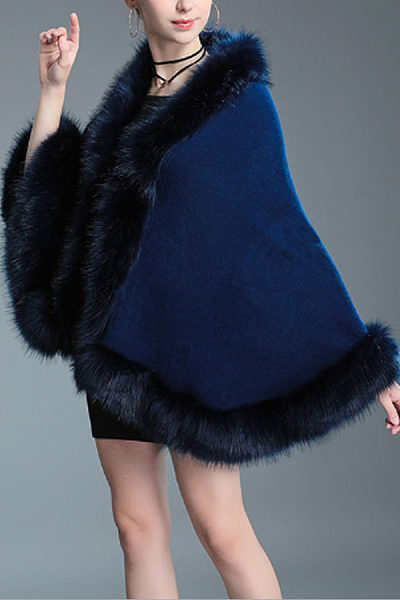 Faux Fur Collar  Poncho  Plain Outerwear