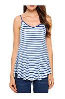 Spring Summer  Cotton  Women  Striped Sleeveless T-Shirts