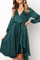 Surplice  Belt  Plain  Long Sleeve Casual Dresses