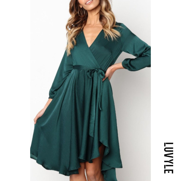Green Surplice Belt Plain Long Sleeve Casual Dresses Green Surplice Belt Plain Long Sleeve Casual Dresses