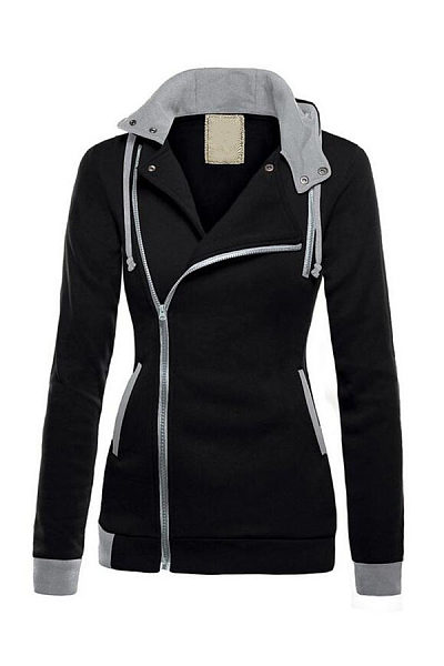 Drawstring Zipper  Color Block Hoodies