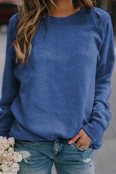 Round Neck Long Sleeve Plain T-Shirt