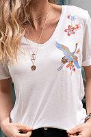Fashion V Neck Embroidered Short Sleeved T Shirt