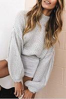 High Neck  Lantern Sleeve Sweaters