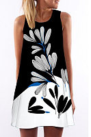 Round Neck  Floral  Sleeveless Floral Dresses