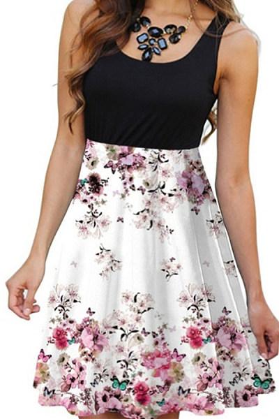 Elegant Round Neck Sleeveless Printed Colour Dress