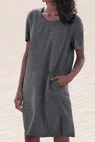 Plus Size Solid Color Round Neck Cotton And Linen Mini Dress