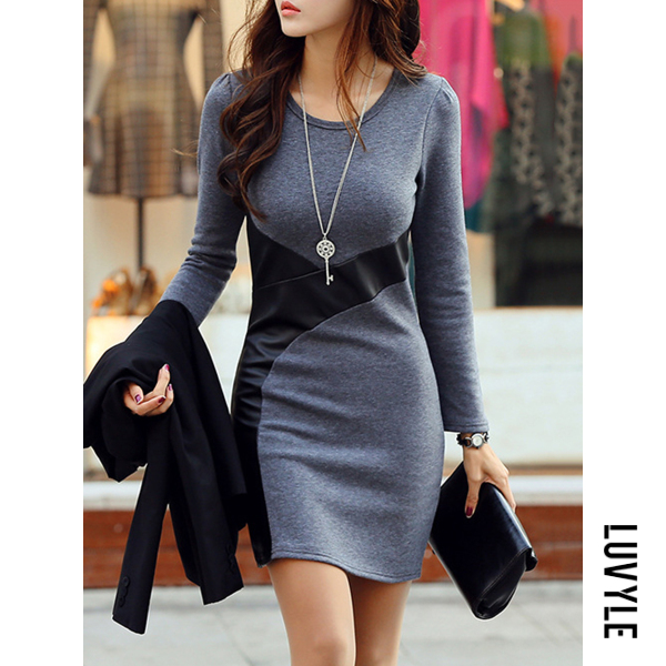 Dark Grey Round Neck Plain Blend Bodycon Dress Dark Grey Round Neck Plain Blend Bodycon Dress