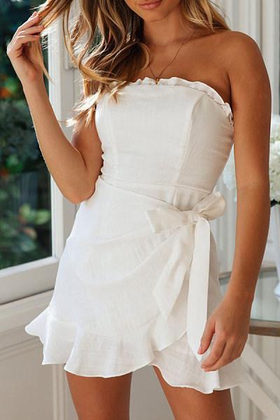 Strapless  Backless  Plain  Sleeveless Bodycon Dresses