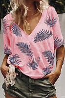 V Neck Printed Casual T-Shirts