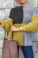 Round Neck  Patchwork Sweaters