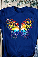 Round Neck Butterfly Short Sleeve T-shirt