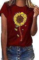Round Neck Sunflower Skull T-shirt