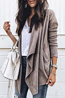 Asymmetric Neck  Plain  Basic Jackets