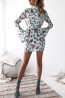 High Neck  Backless  Floral  Bell Sleeve  Long Sleeve Bodycon Dresses
