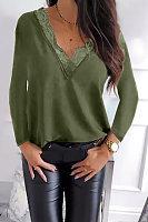 V Neck Lace Up Plain Casual Shirt