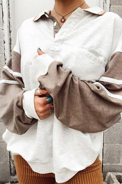 Women's Casual Daily Long Sleeve Contrast Sweatshirt