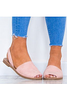Plain  Flat  Peep Toe  Casual Sandals