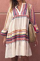Casual V-Neck Flared Sleeve Irregular Striped Stitching Dress