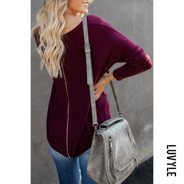 Purple Round Neck Asymmetric Hem Zipper Plain T-Shirts Purple Round Neck Asymmetric Hem Zipper Plain T-Shirts