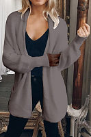 Collarless Long Sleeve Plain Cardigan