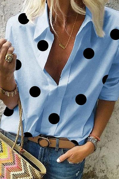 Polka Dot A Lapel Long Sleeve Blouse