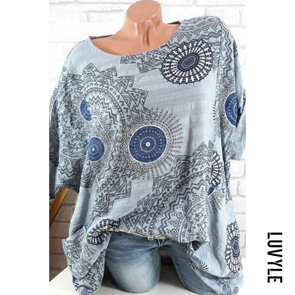 Gray Round Neck Patchwork Brief Printed T-Shirts Gray Round Neck Patchwork Brief Printed T-Shirts