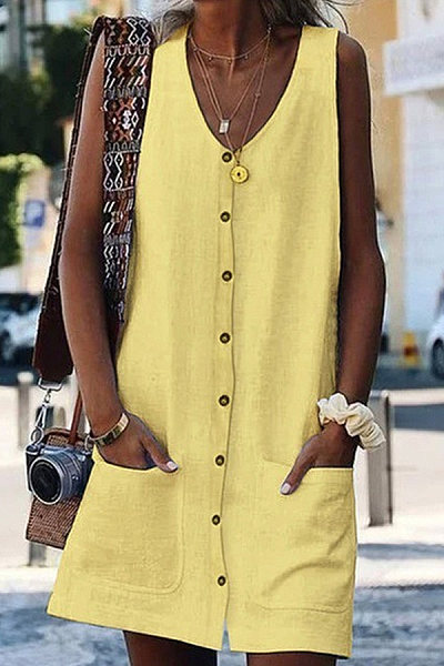 Round Neck Single Breasted Plain Casual Dress